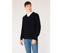 Dark Navy Ribbed V-Neck Sweater