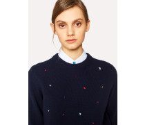 Navy Lambswool Sweater With Jewel Embellishments