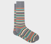Grey Signature Stripe Socks