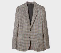Tailored-Fit Tan Check Wool-Silk Blazer