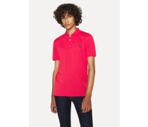 Slim-Fit Red Embroidered 'Zebra' Polo Shirt