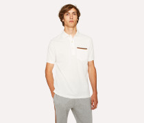 Slim-Fit White Cotton-Piqué Polo Shirt With 'Artist Stripe' Pocket