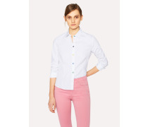 White Slim-Fit Stretch-Cotton Shirt With Multi-Colour Buttons