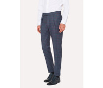 Tapered-Fit Two-Tone Check Wool Trousers