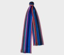 Blue Fennel-Stripe Wool Scarf