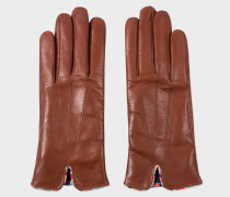 Tan Lambskin 'Swirl' Trim Gloves