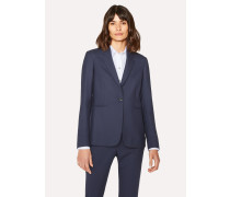 A Suit To Travel In -  Washed Navy One-Button Wool Blazer