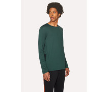 Dark Green Long-Sleeve T-Shirt With Contrast Panel