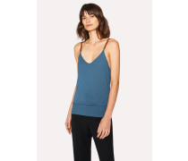 Petrol Merino Wool And Silk-Blend Knitted Cami Top