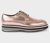 Metallic Gold Leather 'Grand' Brogues With Striped Soles