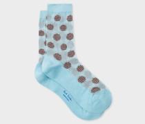 Light Blue Stripe-Polka Dot Semi-Sheer Socks