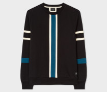 Black And Teal Panelled Cotton Sweatshirt