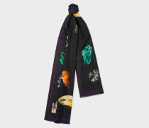 Black 'Precious Stones' Print Silk Scarf