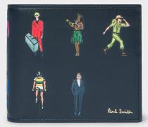 'People' Motif Billfold Leather Wallet
