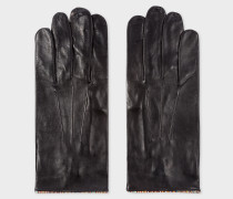 Black Leather Gloves With 'Signature Stripe' Piping
