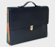 Navy 'Concertina Bright Stripe' Leather Briefcase