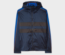 Navy Lightweight Hooded Jacket With Stripe Detail