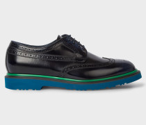 Dark Navy Leather 'Crispin' Brogues With Petrol Soles