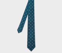 Petrol 'Umbrella' Motif Narrow Silk Tie