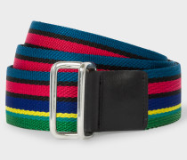 'Cycle Stripe' Canvas Webbing Double-Buckle Belt