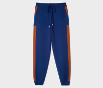 Indigo Knitted Sweatpants With Rust Side Band