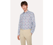 Tailored-Fit Light Blue 'Tropical Fish' Print Cotton Shirt