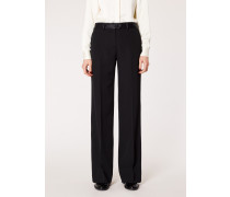Black Parallel Leg Tuxedo Wool Trousers With Satin Details