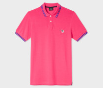 Slim-Fit Pink Zebra Polo Shirt With Cobalt Blue Tipping