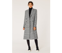 Dogtooth Wool-Blend Double-Breasted Coat