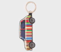 Stripe Mini Calf Leather Keyring
