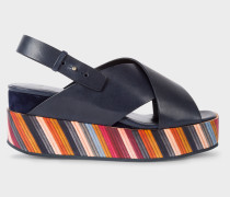 Dark Navy 'Noe' Leather Sandals With Graphic Print Soles