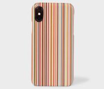 Signature Stripe Leather iPhone X Case