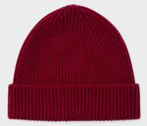 Burgundy Cashmere-Blend Beanie Hat