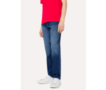 Tapered-Fit 12oz 'Authentic Comfort Stretch' Mid-Wash Jeans