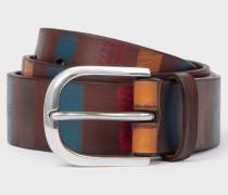 Brown Stripe Leather Belt