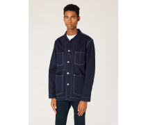 Navy Over-Dyed Denim Chore Jacket With Contrast Stitching