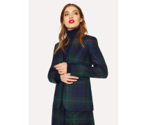 Slim-Fit Navy, Green And Red Tartan One-Button Wool Blazer