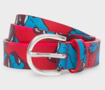 Red Floral Print Leather Belt