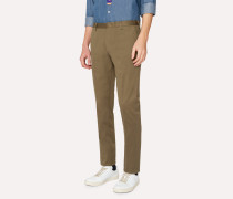 Slim-Fit Olive Green Stretch-Cotton Twill Trousers