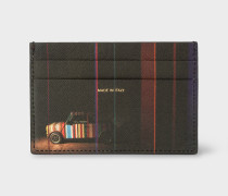 Black 'Mini' Print Leather Credit Card Holder