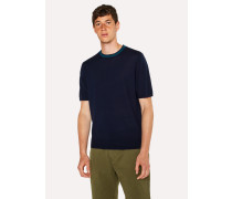 Navy Merino Wool Short-Sleeve Sweater With Contrast Collar