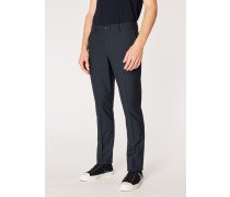 Mid-Fit Dark Navy Small-Check Wool Trousers