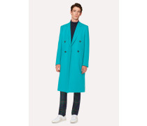 Turquoise Double-Breasted Wool Overcoat