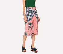 Pink 'Pacific Floral' Print Wrap Front Skirt