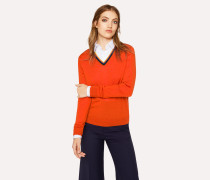 Orange 'Artist Stripe' V-Neck Wool Sweater