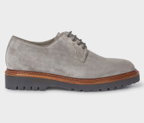 Grey Suede Leather 'Rod' Derby Shoes