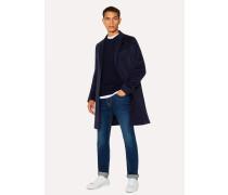 Dark Navy Alpaca-Wool Blend Overcoat