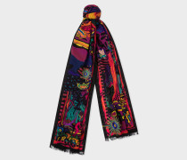 Black 'Dreamer' Pattern Embroidered Wool Scarf