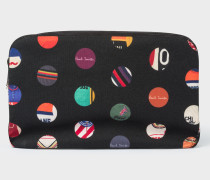 'Cycle Dot' Print Canvas Wash Bag