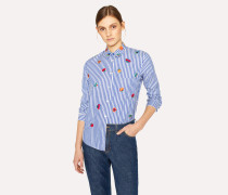White And Blue Striped Cotton Shirt With 'Kyoto Floral' Embroidery